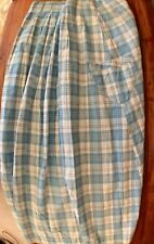 Women's Antique Blue Cream Plaid Home Spun 2 Pocket Skirt Edwardian Victorian