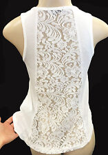 Womens / Juniors Lace-Back Tank-Top Fashion Large Stretch Plain Off White Loose