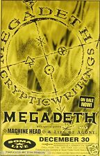 """MEGADETH / MACHINE HEAD """"CRYPTIC WRITINGS TOUR"""" 1997 SAN DIEGO CONCERT POSTER"""