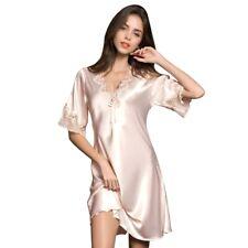 Womens Silk Satin Nightdress Nightgowns Sleepshirt Summer Sleepwear Homewear Pj