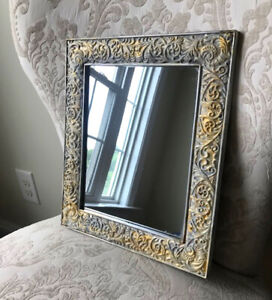 """Vintage Ornate Distressed Gold Gray Framed Wall Mount Mirror 10.75"""" x 12.75"""""""