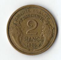 MONNAIE DE 2 FRANCS MORLON BRONZE ALU DE 1935 @ LA + RARE @ PETIT PRIX @ PROMO !