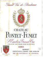 Etiquette de vin Chateau Pontet Fumet Saint Emilion Grand Cru 1983 Bardet Vignon