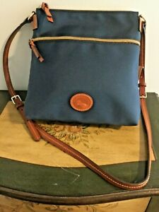 DOONEY & BOURKE Navy Blue Nylon with Brown Leather Trim Shoulder Crossbody Bag