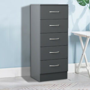 Modern Cabinet Grey Bedside Table Storage Tall Narrow Chest of 5 Drawer