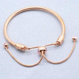Authentic Pandora Moments Bracelet Rose Gold Snake Flower #588093NCCMX w/Pouch