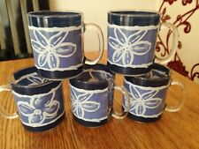 RETRO ARCOPAL PYREX GLASS 1/2PT MUGS MADE IN FRANCE X 5