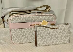 """Authentic Michael Kors """"Kenley"""" powder blush multi with matching wallet."""