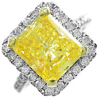 Platinum 3.75 CT Fancy Yellow Radiant Cut Diamond Engagement Ring GIA Certified