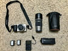 Sony Alpha A6000 24.3MP Digital Camera w/ 16-50mm & 55-210mm Lenses& Meke Holder