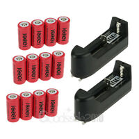 12x 2400mAh Li-ion 16340 CR123A Rechargeable Battery + 2x AC 16340 18650 Charger