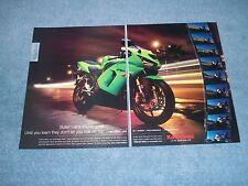 """2005 Kawasaki Ninja ZX-6R Street Bike 2pg Ad """"Bullet Train Sound Great."""""""