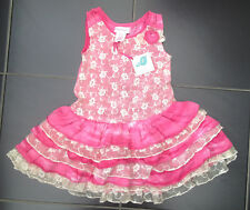 ВNWT Girls' Party Outfit • Savannah Pink Guipure Lace Dress • 100% Cotton •6-9m