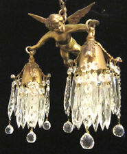 Flying Cherub Bronze Vintage Chandelier French Lamp Brass Crystal prisms canopy