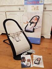 BABY BJORN BABYSITTER BALANCE CHAIR BOUNCER SEAT BLACK GREY USED