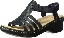 Clarks Ladies Wedge Sandals LEXI BRIDGE Black Leather UK 6 / 39.5