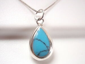 Reversible Turquoise and Mother of Pearl 925 Sterling Silver Teardrop Pendant