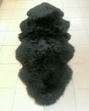 genuine sheepskin rug Double Black