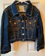 L.A. IDOL Kids Girls Youth Jean Denim Jacket Size Large M Rhinestone Bling CUTE!