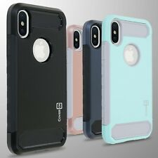 For Apple iPhone XS / X Case Hard Armor Phone Cover with Carbon Fiber Slim Look