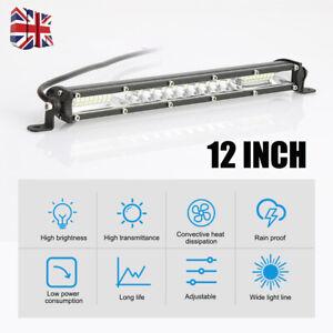 "UK 12"" LED Work Light Bar Spot Flood Roof Driving Lamp Offroad Car Truck SUV 4x4"