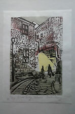 Woodcut Print. Elvet Bridge Durham. Number 8 in a limited variable edition of 50
