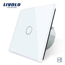 Livolo New EU Type AC 110-250V White 1 Gang 2 Way Wall Light Remote Touch Switch