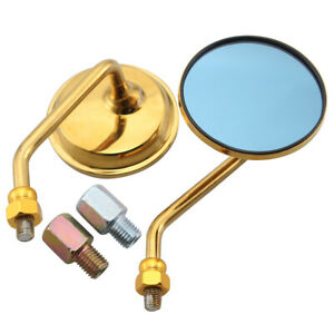 Pair Gold 10mm Metal Motorcycle Motorbike Round Rearview Side Mirrors Blue Glass