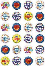 24 Happy Fathers Day Dad Daddy Cupcake Cake Toppers Edible Rice Wafer Paper