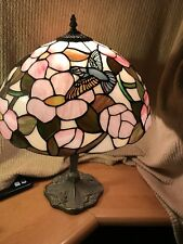 beautiful vintage bird and flower tiffany style table lamp