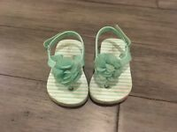 Baby Girl Gap Toddler Turquoise Flower Sandals Size 5/6 Adorable!