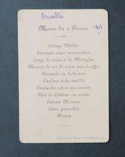 Menu 2 février 1893 BRUXELLES Vicomtesse OBERT Comte DE GRUUNE DE BRIEY noblesse