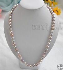 8-9mm Genuine Natural Multicolor Akoya Cultured Pearl Necklace 18'' AAA