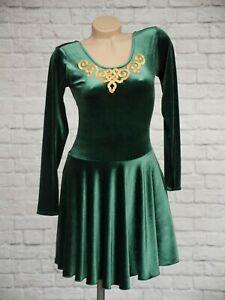 Dance Dezines Green Irish Theme Ice Skating Dress 4 UK 12 Gold Velvet Dancing