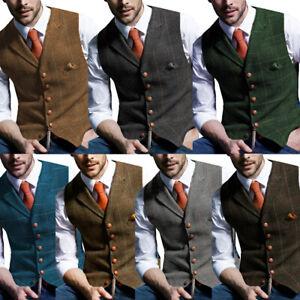 Plaid Mens Tweed Waistcoat Notch Lapel Wool Herringbone Vintage Vest Slim S-3XL+