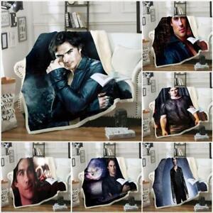 Damon Salvatore Vampire Diarie 3D Blanket Skull Warm Soft Sofa Bed Throw Fleece