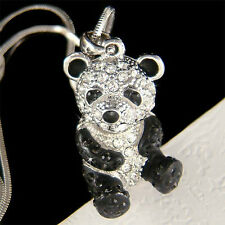 w Swarovski Crystal Black White 3D Cute PANDA BEAR Chinese China emblem Necklace
