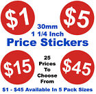 1 1/4 Inch 30mm Bright Red $ Dollar Price Point Stickers Sticky Labels Tags POS