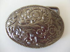 Oval Flower Design with rope edge Nickle Plate Belt Buckle RIBCO USA