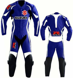 SUZUKI GSXR MOTORBIKE/MOTORCYCLE COWHIDE RACING LEATHER SUIT CE APPROVED