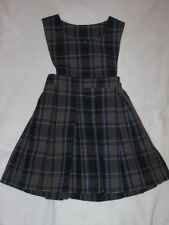 Girls Becky Thatcher Elderwear School Uniform Plaid Jumper Dress Blue Gray Sz 4