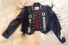 Sunriders Western Wear Fringed Black Leather Womens Motorcycle Jacket L Large