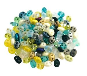 20 Grams Assorted Color Lined Czech Super Duo Twin Double 2 Hole Glass 5mm Beads