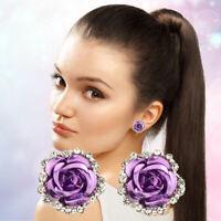 Women Fashion Jewelry Lady Charm Crystal Rose Flower Ear Stud Earrings