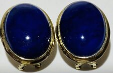 14K Yellow Gold Natural Lapis Earrings