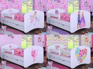 HB1 WEIß Kinderbett mit Matratze Bettkasten verschiedene Varianten für Mädchen