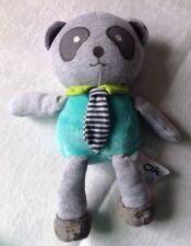 DOUDOU PELUCHE panda ours gris vert cravate rayée OBAIBI OKAIDI NEUF étiqueté