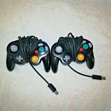 2 Gamecube Controllers Jet Black DOL-003 Nintendo Game Cube