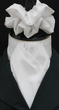 Ready Tied White & White Pin Dot Cotton Riding Hunt Dressage Stock & Scrunchie