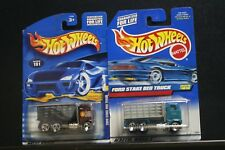 2 NEW HOT WHEELS FORD STAKE BED TRUCK 191 RED BLACK FAT CAT 1010 AQUA GRAY